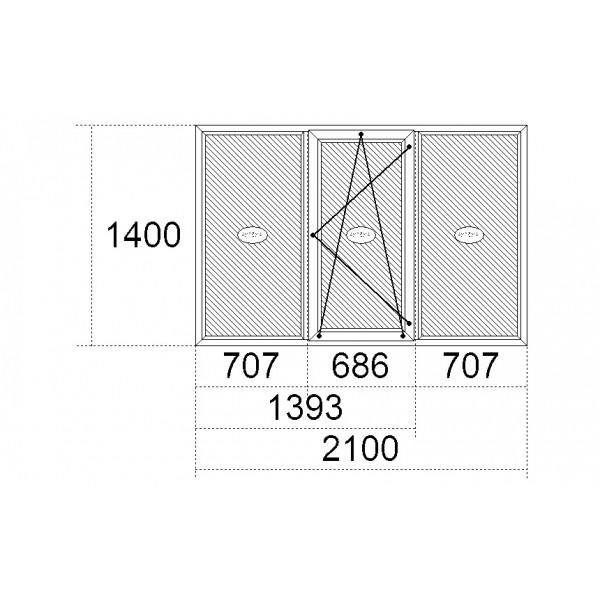 Вікно Steko S600 2100 x 1400